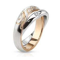 "Combination of Single CZ Paved Band Ring with ""love"" Engraved Band Ring, Women's"