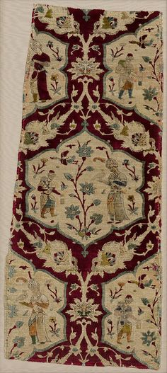 Velvet with Figural Imagery, fragment from the reign of Shah Tahmasp, mid 16th century, Iran