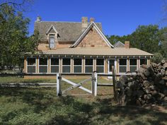 The Hedrick Ranch features an historic three-bedroom, two-story house, built in 1893 with 18-inch stone quarried from the area. The classic ranch home has two wood-burning fireplaces and a large enclosed porch across the back. Hardwood trees surround the home.