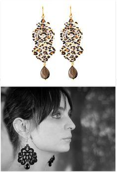Tita Bijoux - Lace Earrings Alibaba Leopard Lace Earrings, Drop Earrings, Jewelry, Fashion, Moda, Tatting Earrings, Jewlery, Bijoux, Fashion Styles