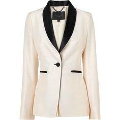 L.K. Bennett Julyan Tuxedo Jacket (1,045 BAM) ❤ liked on Polyvore featuring outerwear, jackets, blazers, tops, white, one button blazer, white one button blazer, white tuxedo blazer, tuxedo blazer and white dinner jacket