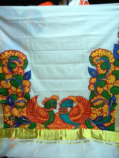 Border design kerala mural art pinterest border for Aithihya mural painting fabrics