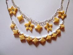 Necklace with yellow flower medals Clay Jewelry, Yellow Flowers, Handmade, Hand Made, Handarbeit