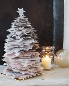 Sweet Paul Holiday Countdown: Day 14 - Stacked Paper Christmas Tree: Great recipes and more at http://www.sweetpaulmag.com !! @sweetpaul