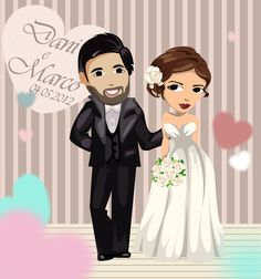 Bridal illustration for Dani and Marco.By Inaarts Creations