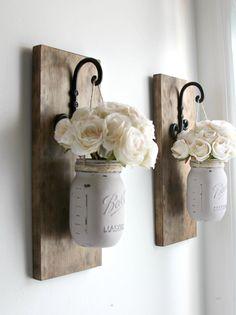 Set of 2 Rustic Wall Sconces -Hanging Mason Jars Decor