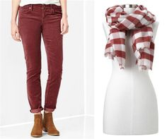 1969 always skinny cords; Cozy buffalo checkered scarf color of the year Marsala.... 2015