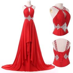 Halter Red Charming Long Prom Dress,Evening Dress,Charming Prom Dresses