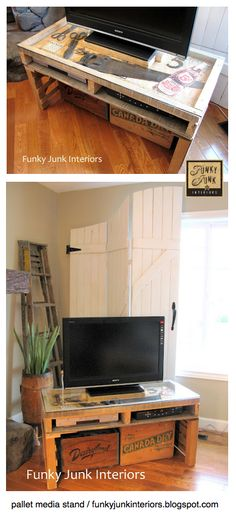 Make a PALLET TV stand... with a glass showcase. FUN! via Funky Junk Interiors. Also check out the wooden 'curtains' behind it! I want all of this for my new place! lol