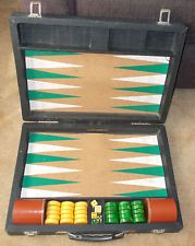 Vintage Drueke Crisloid Bakelite Butterscotch and Green Swirled Backgammon Set