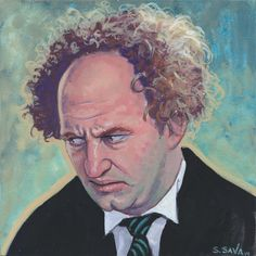Larry Fine from the Three Stooges Done on 6x6 inch Aquabord with Winsor & Newton Gouache Paints