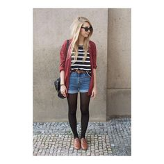tshirt with stripes ❤ liked on Polyvore featuring pictures, outfits, photos, people and lookbook