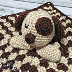 Puppy Lovey Security Blanket Rattle by TactileDarlings | Mad Mad Makers | http://www.etsy.com/listing/179947776/puppy-lovey-security-blanket-rattle