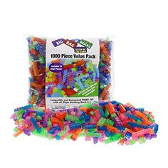 "Building Bricks – 1000 Pc ""Big Bag of Bricks"" Bulk Glow in the Dark Blocks"