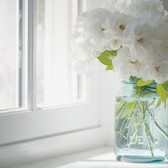 Flowers in a mason jar. I have quite a few of these throughout my house :)