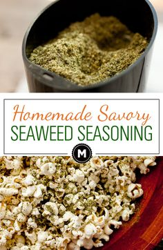 Seaweed seasoning recipe: This quick to make homemade seasoning mix is savory, salty, and a little spicy! It's good on a ton of stuff, but I really like it on popcorn. Check out the post to learn the secret ingredient!