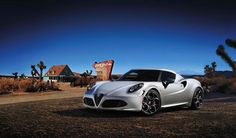 2013 Alfa Romeo 4C Launch Edition: 1.75 Liter, Inline 4 Turbo with 240 Horsepower. 0 to 60 mph in 4.5 seconds. Top Speed of 155 mph.