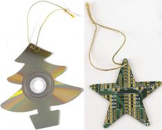 CD and circuit board Christmas decorations
