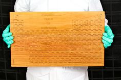 """Cutting Board (Large) Periodic Table of Elements (formaldehyde free) - 20"""" x 12"""" and thick 1-1/4"""" - Solid Cherry Hardwood, Paul Szewc - pinned by pin4etsy.com"""