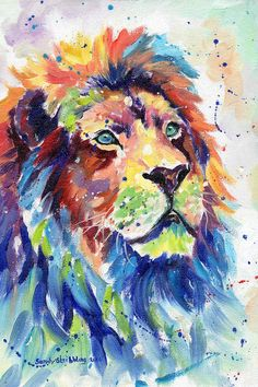 size: Stretched Canvas Print: Colorful African Lion by Sarah Stribbling : Artists Using advanced technology, we print the image directly onto canvas, stretch it onto support bars, and finish it with hand-painted edges and a protective coating. Lion Painting, Painting Edges, Oil Painting On Canvas, Animal Paintings, Animal Drawings, Oil Paintings, Watercolor Lion, Lion Poster, Lion Art