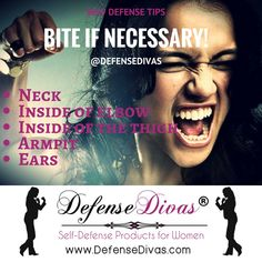 Remember to bite ears, armpits and any tender areas you can get your chompers on to escape! http://www.divasfordefense.com/self-defense-education1 #womensafety #nomeansno