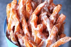 These are an incredible treat. The perfect diet cheat! Love me some sweet potato fries with sugar and vanilla sauce! French Fry Heaven, Vanilla Sauce, Belgian Style, French Fries, Sweet Potato, Sweet Tooth, Bacon, Thanksgiving, Potatoes