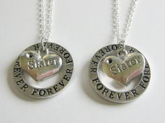 2 Sisters Forever Necklaces BFF by CharminTreasureChest on Etsy, $24.00