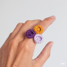Ring crocheted circles. Mustard violet and lavender. by idniama, $14.00