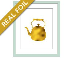 Tea Pot Art Print - Gold Foil Print - Kitchen Art - Teapot Art Print - Food Art - Gold Foil Kitchen Decor - Kitchen Wall Art - Kettle Art