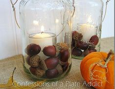 Acorn Mason Jar Candle - Mason Jar Crafts Love