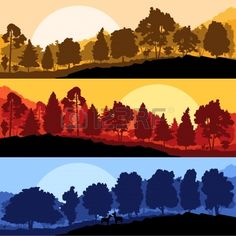 Wild mountain forest nature landscape scene collection background illustration vector Stock Vector