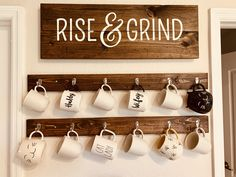 Made from SOLID WOOD, these rustic wood hangers add the perfect touch to your kitchen, dining area or above your new coffee bar made by us (Check out our store! These wood hangers are Coffee Cup Rack, Coffee Mug Display, Coffee Mug Holder, Coffee Nook, Coffee Coffee, Coffee Maker, Coffee Enema, Coffee Bars, Coffee Creamer