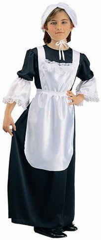 Child's Colonial Pilgrim Girl Costume (Size: Small 46) by RG Costumes. $21.99. Includes Dress, Bonnet and Apron. Shoes not included.