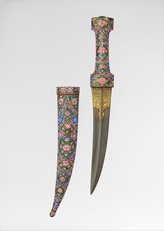 "Dagger (Khanjar) with Sheath, late 18th–early 19th century. Iranian culture. The Metropolitan Museum of  Art,  New York. Bequest of George C. Stone, 1935 (36.25.684a, b)  |  This work is exhibited in the ""Arms and Armor from the Islamic World"" exhibition, on view through January 2, 2017.#AsianArt100"