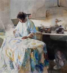"""Mary White:""""Finishing the quilt"""" -Watercolor  Google fr"""