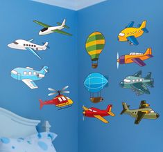 A lovely collection of #airplane wall #stickers to #decorate the bedroom of your #children. Great #kids #decal to create a fun atmosphere in which your #children can play in. #tenstickers #flugzeug