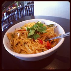 Did you know that most of Mama Fu's dishes can be made #GlutenFree? Like our #spicy #Thai #Basil Noodle bowl. Ask for the #GF version with all the flavor and all the #heat! :)