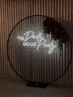 Mesh circle Backdrop for weddings and events with TIL death do us party neon sig. Mesh circle Backdrop for weddings and events with TIL death do us party neon sig. Mesh circle Backdrop for weddings and events with TIL death do us party neon sign Marriage Vows, Frame Stand, Wedding Signage, Neon Lighting, Event Lighting, Event Styling, Event Decor, Unique Weddings, Photo Booth