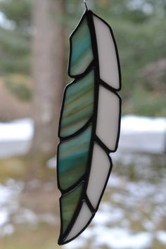 Elegant white light  Blue Satined glass Suncatcher Feather Copper Foil Stained Glass