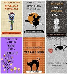 Free Halloween Cards for Everyone: Frankentines Free Halloween Cards from I Dig Pinterest