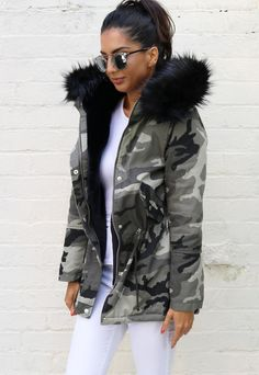 41df0c2b081b Milly Faux Fur Trim   Lined Hooded Parka in Camo Print with Black - One  Nation