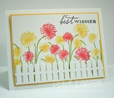 Best Wishes PP103  CAS PP103 PTI MFT    Stamps: PTI    Paper: Whisper White, Daffodil Delight    Ink: Calypso Coral, Daffodil Delight, Lucky Limeade, Black    Accessories: MFT Picket Fence Die, Dimensionals