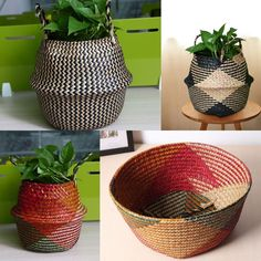 Made of natural seagrass,Handmade and authentic.foldable strong and durable and Handle for you to remove the position easily. and different weather the the color of the seagrass will be a little different. Storage Baskets, Bag Storage, Belly Basket, Main Colors, Potted Plants, Planter Pots, Handmade, Bags, Weather