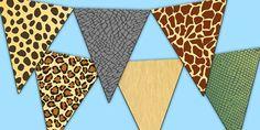 Safari Animal Patterns Themed Display Bunting