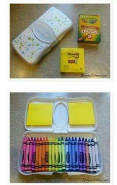 Creative drawing/crayon storage idea - would be perfect for church!