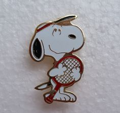 Hey, I found this really awesome Etsy listing at https://www.etsy.com/listing/197221170/1972-snoopy-tennis-gold-tone-and-enamel