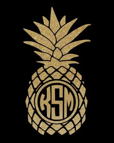 Gold Glitter Pineapple Decal ~ Monogrammed ~ Solid ~  with your choice of sizes! by DocksideDesign on Etsy https://www.etsy.com/listing/244135896/gold-glitter-pineapple-decal-monogrammed