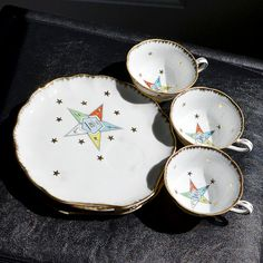 Eastern star plate and cup set
