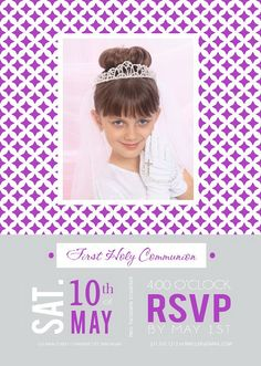 Photo First Communion Invitation - Printable