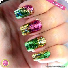 Nail Foil ! #nailfoil #nail #unhas #unhacromada - www.unhadeouro.com.br